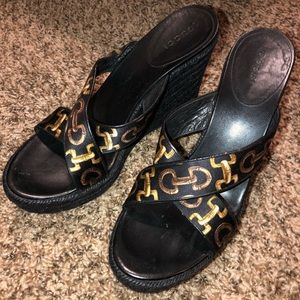 Gucci horsebit wedges vintage chain link shoes